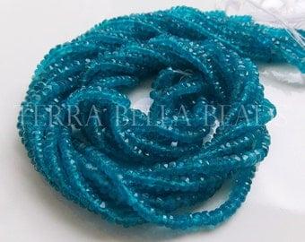"Full 12.5"" strand neon blue APATITE faceted rondelle gem stone beads 3mm"