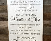Large Wood Sign - Always Stay Humble and Kind - Tim McGraw - Subway Sign - Farmhouse Sign