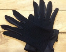 French 1950s Vintage Woman Formal Summer Mesh Gloves - Chic Black Color - New from France - XS - 6