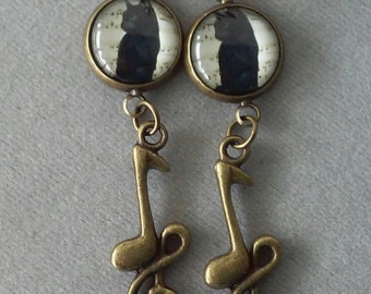 Antiqued Brass Music Notes Black Cat Earrings