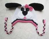 Pink, Black and White Puppy Crochet Hat - Available in Any Size or Color Combination