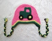 READY TO SHIP - 1 to 3 Year Size - Medium Pink Tractor Crochet Winter Hat or Photo Prop