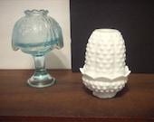 Vintage Fairy lamps, 2 Fairy lamps, White milk glass, white milk glass fairy lamp, Blue Fairy lamp, Fenton Fairy lamp, set of 2 Fairy lamps