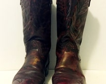 Black Cherry with gold Cowboy Boots mens size 10B women's size 11 to 12