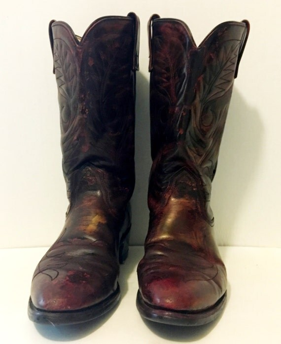 black cherry with gold cowboy boots mens size 10b s