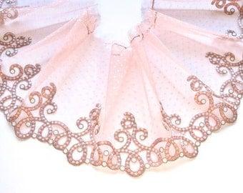 Pale Pink Polka Dot Lace Trim, Powder Pink Swirls Lace,  Pink Beige Trim, Lingerie, Lace Sewing, Dolls, Mantillas