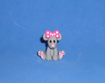 Polymer Clay Sitting Mouse with Pink Bow