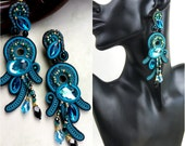 Long Soutache Clip-On Earrings / turquoise, teal, black