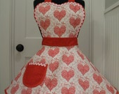 Valentines Apron-WOMENS APRON-Red Lacey Hearts Valentines Full Apron