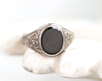 Jet Black Glas Signet Ring in Sterling Silber - Ring Größe 7.5 - antike Mens Pinky ring