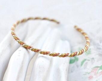 Elegant Cuff Bracelet - Twisted Copper and Brass Boho Bangle