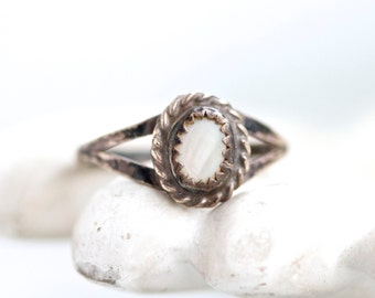 Victorian Ring - Antique Dark Sterling Silver and Mother of Pearl - Size 6.5