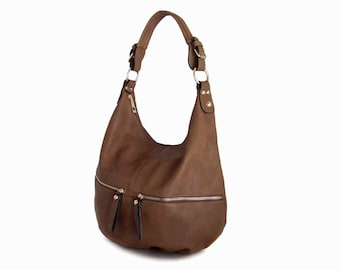 Leather Tote Hobo  Bag Handbag in Vegan Leather Taupe Handmade   -  the Tangy - sale with coupon code TRACBAG30OFF345