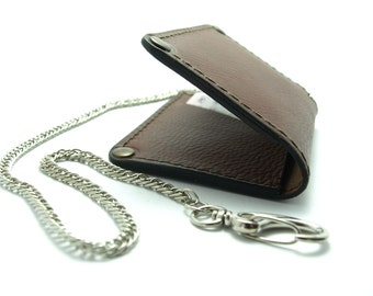 Small wallet card holder wallet from brown leather to fit ID card  business cards cash free initials with chain, bike wallets, gift ideas