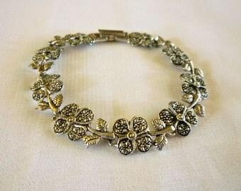 Clover Leaf Bracelet, Marcasite Four Leaf Clover Link Bracelet, Marcasite Jewelry
