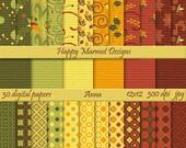 Patterned Paper Digital Scrapbooking Backgrounds Photo Resources - 30 designs - 12x12 - 300 dpi - jpg - ANNA