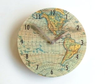 Objectify Vintage Map Clock with Numerals