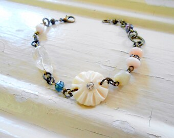 Shabby Pink Bracelet, Assemblage, Rose Bone Bead, Cottage Chic, Eclectic, Opal, Mother of Pearl, Repurposed Vintage, Upcycled, Recycled