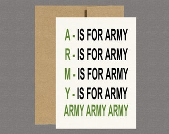 A is for Army - Military Greeting Card, Deployment Card, Care Package, Boot Camp, Basic Training
