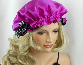 Mulberry Silk Sleep Bonnet Hot Pink, Fully Adjustable Sleep Cap, Hair Bonnet, Reversible Sleep Cap for Hair Care