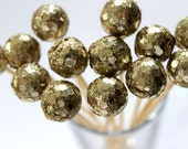 Champagne Gold Drink Stirrers, New Years Eve Wedding, Drink Decor, Glitter Party, Dinner Party
