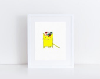 Yellow Cat with floral crown, fine art 8x 10 print
