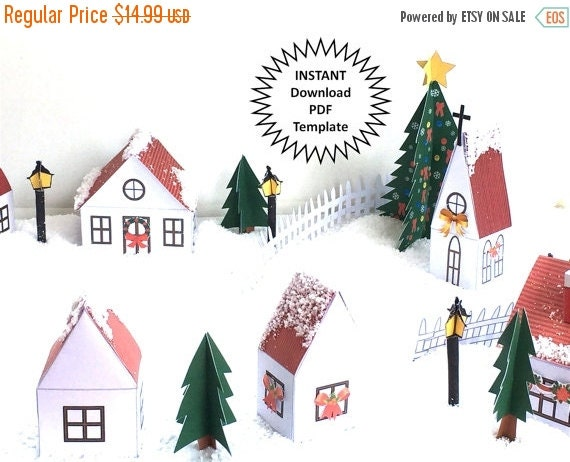 CIJ SALE Christmas Village Display DIY Christmas Decor Christmas Village Set Printable Christmas Town Christmas House Christmas Houses Pdf T