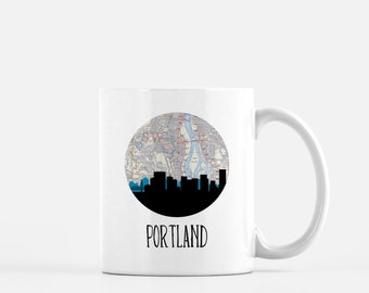 Portland Oregon map mug | Portland skyline mug | Oregon mug | Portland Oregon mug | Portland skyline map mug | Pacific Northwest mug
