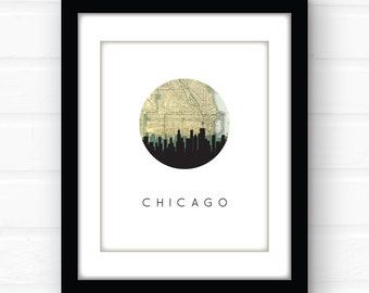 Chicago skyline art | Chicago map print | Chicago print | Chicago, Illinois art | Chicago, Illinois home | city skyline wall art | map art