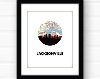 Jacksonville, Florida map art | Jacksonville map print | Jacksonville beach decor | Florida souvenir art | Jacksonville beach sign