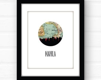 Manila Philippines art | Philippines map | Philippines print | Philippines | city skyline print | travel poster | Southeast Asia map