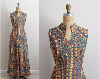 70s Leslie Fay Psychedelic Maxi Dress / Size M/L