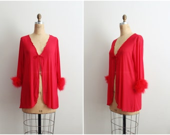 80s Red Feathers Robe / Red Vintage Lingerie /1980s Lingerie/ One size