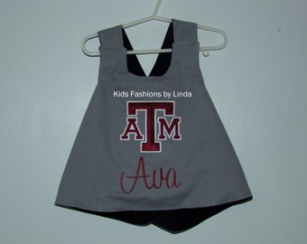 Personalized Reversible Sports Grey/Black Pinafore with Ruffle Diaper Cover