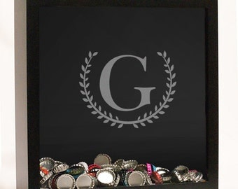 Personalized Laurel Initial Shadow Box, memento, keepsake, collectibles, memories -gfyL10388146