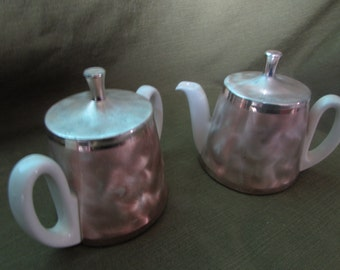West German Sugar and Creamer - Ivory porcelein with brushed tarnish resistant silverplate