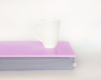 Bright tray or Laptop Lap Desk without edges - bright pink with Grey cotton pillow