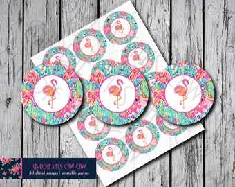 INSTANT DOWNLOAD** Lilly Pulitzer Peel and Eat Flamingo Party Circles Favor Tags Gift Tags Thank You Tags Cupcake Toppers