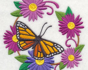 Flower and Butterfly Wreath Embroidered Flour Sack Hand Towel
