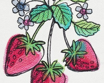 Luscious Strawberries Embroidered Flour Sack Hand/Dish Towel