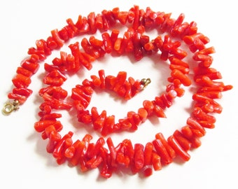 Vintage Red Coral Branch Necklace Mid Century