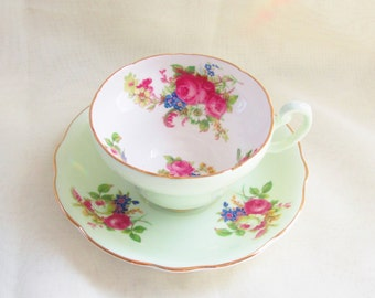 Vintage Green Fancy China Teacup Foley Cottage Chic Wide Mouth English Garden 2101