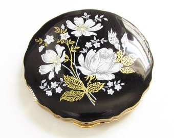 Vintage Melissa England Powder Compact Black Enamel White Flower