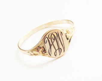 Antique Victorian Signet Monogram Ring 14k Gold Filled size 8 3/4 VGC