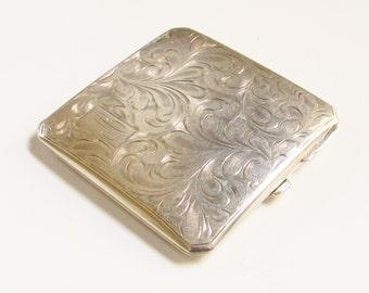 Vintage Sterling Art Nouveau Powder Compact 1920s Birks