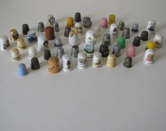 Vintage Thimble Collection - 45+ thimbles