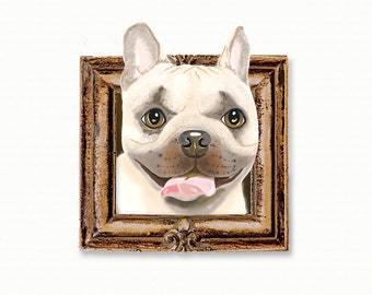 French Bulldog Tiny Art Print - Brown and Fawn - Dog Art Print - Tiny Frenchie in a Frame
