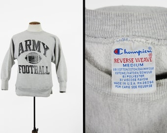 Vintage Champion Army Football Sweatshirt Reverse Weave Pullover Made in USA - Medium