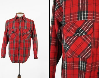 Vintage 70s Cotton Flannel Shirt Red Plaid 5 Brother Long Sleeve Made in USA - Size Large