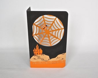 HAPPY HALLOWEEN Decoration Card in Orange & Black w/Castle on a Hill, and Spider Webs. Home Décor Handmade Original Design One Of A Kind